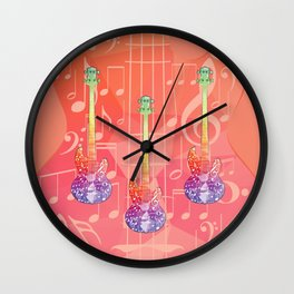 Polygonal purple guitar silhouette Wall Clock