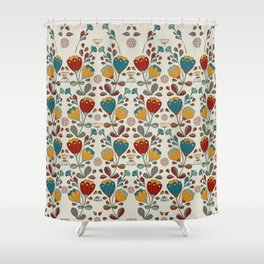 Vintage Ethno Flowers in red, blue and yellow on beige Shower Curtain