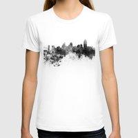 cincinnati T-shirts featuring Cincinnati skyline in black watercolor by Paulrommer