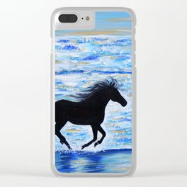 Horse Running Free by the Sea Painting Clear iPhone Case