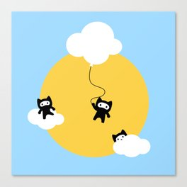 Ninja cats in the sky Canvas Print