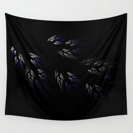 Feathers in Winter Purple Wall Tapestry
