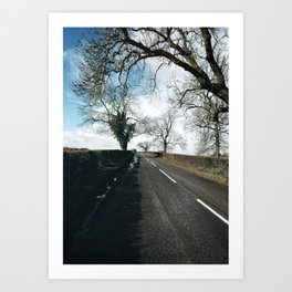 winter road in Derbyshire Art Print