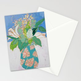 Lily and Eucalyptus Bouquet in Blue and Peach Floral Vase Stationery Cards