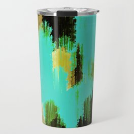blue black and green painting texture abstract background Travel Mug