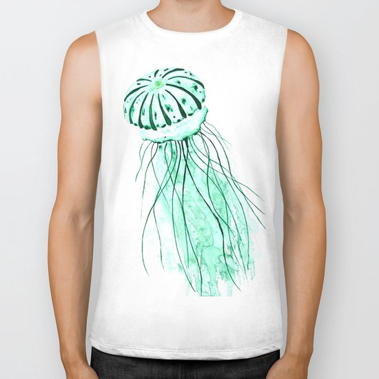 green jellyfish watercolor Biker Tank
