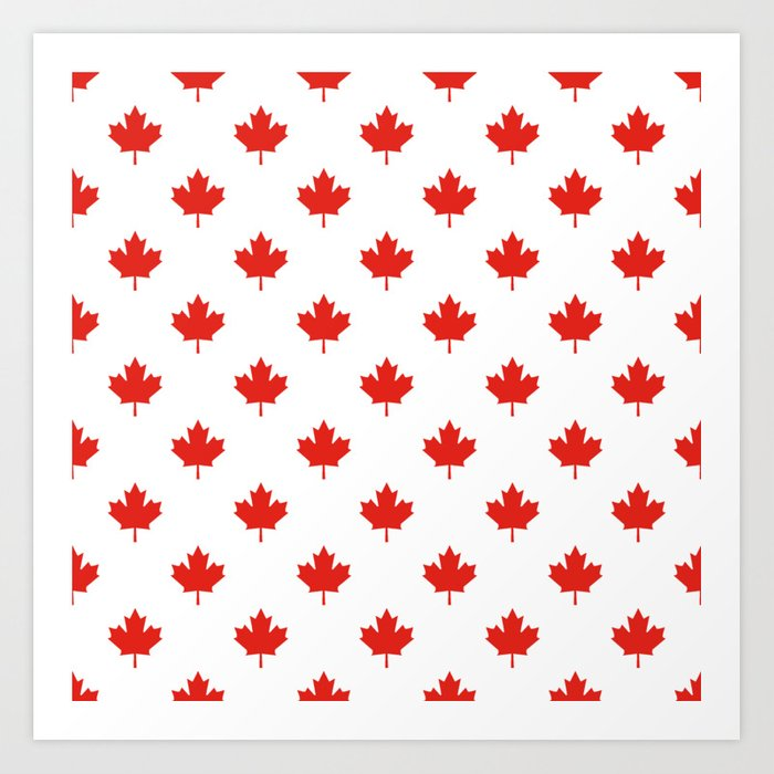 Large Tiled Canadian Maple Leaf Pattern Art Print By Podartist Mesmerizing Maple Leaf Pattern