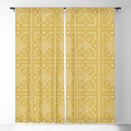 Embroided Tumeric Tapestry Blackout Curtain