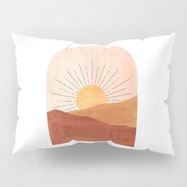 Abstract terracotta landscape, sun and desert Pillow Sham