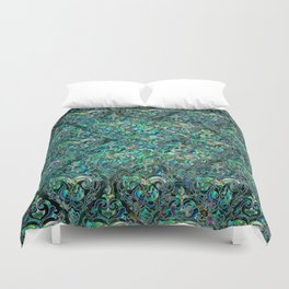 Persian Oriental pattern abalone and silver Duvet Cover