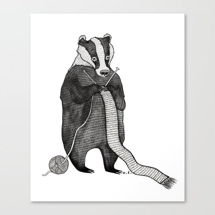 Badger knitting Canvas Print