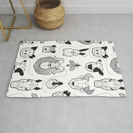 Friendly Geometric Farm Animals // white background black and white pigs queen bees lambs cows bulls dogs cats horses chickens and bunnies Rug
