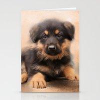 german shepherd Stationery Cards featuring German Shepherd Puppy Portrait by Jai Johnson