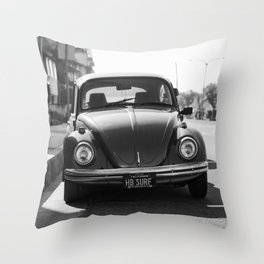 Hermosa Beach Surf Bug, Black and White Photography Print, Beach Art, South Bay Los Angeles Art Throw Pillow