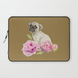 Pug and Peonies | Watercolor Illustration Laptop Sleeve