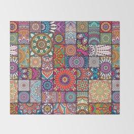 Boho Patchwork Quilt Pattern 2 Throw Blanket