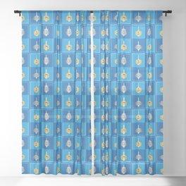 Hanukkah Dreidel Sheer Curtain