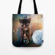 Playful cute black kitten Tote Bag