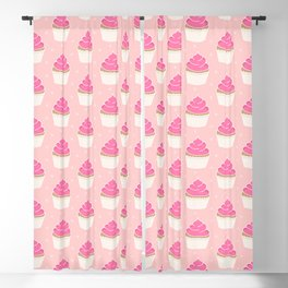 Pink Cupcakes with Frosting Blackout Curtain