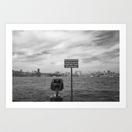 Istanbul a city by the sea - Black and white cityscape Art Print