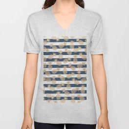 Nautical modern navy blue white stripes blush beige pineapple Unisex V-Neck