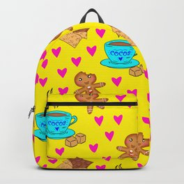 Lovely sweet gingerbread cookies, chocolate bars, cups of hot cocoa, hearts yellow winter pattern Backpack