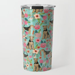 Airedale Terrier floral dog print dog pillow cute airedale terrier floral phone case Travel Mug