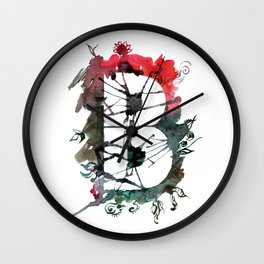 Watercolor hand drawn the letter B with flower pattern. ABC. Monogram Wall Clock