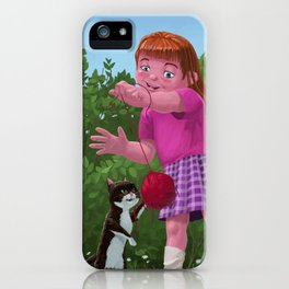 cat and young girl playing with ball of wool in garden iPhone Case