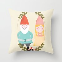 gnome Throw Pillows featuring Gnome Sweet Gnome by Beth Laird
