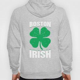 Boston Irish Green Shamrock St Patricks Day Clover Hoody