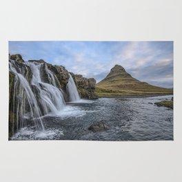Waterfall Cascade Kirkjufell Mountain Iceland Rug