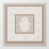 morrocan Canvas Prints featuring Hamsa in morrocan pattern by Heaven7