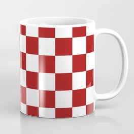 Cranberry Red and White Checkerboard Pattern Coffee Mug