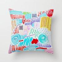 doodle Throw Pillows featuring DOODLE by austeja saffron