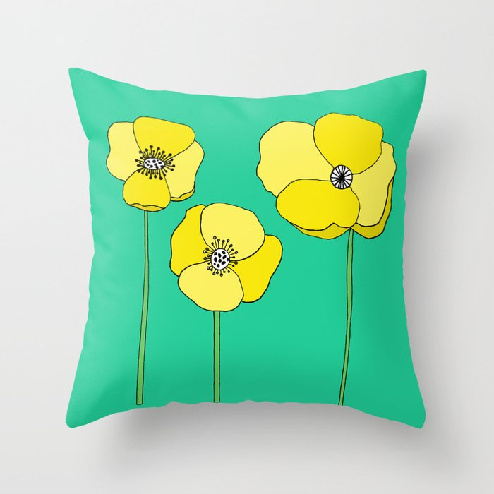Bright Yellow and Mint Green Poppies Growing and Thriving Throw Pillow