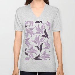 Abstract modern pastel lavender white leaves floral Unisex V-Neck