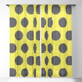 Black Circles on Yellow Background Sheer Curtain