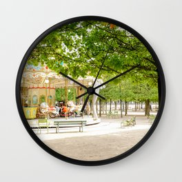 Charming Carousel in Paris France Wall Clock