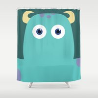 pixar Shower Curtains featuring PIXAR CHARACTER POSTER - Sulley - Monsters, Inc. by Marco Calignano