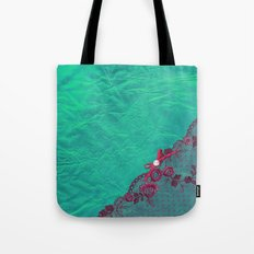 Claire´s treasure I - Pink lace,ribbon and pearl on aqua backround Tote Bag