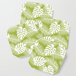 Olive Green Jungle Palm Leaves Pattern Coaster