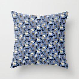 Lotsa Labs on Blue Throw Pillow
