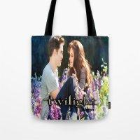 saga Tote Bags featuring Twilight Saga by ezmaya