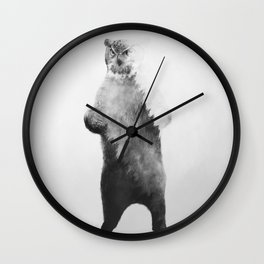 Owlbear in Forest (Black & White) Wall Clock