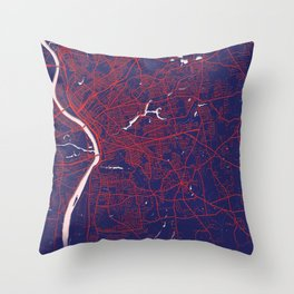 Springfield, MA, USA, Blue, White, City, Map Throw Pillow