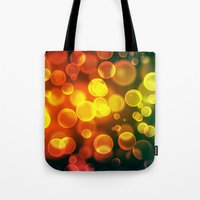 bokeh Tote Bags featuring bokeh by davidmichel