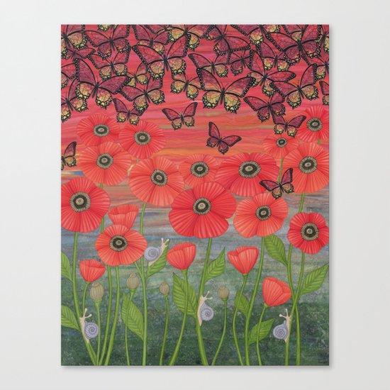 red sky, butterflies, poppies, & snails Canvas Print