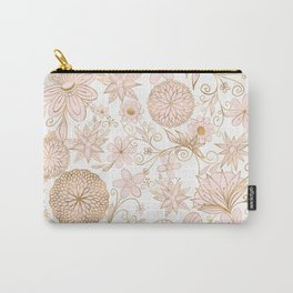Cute Girly Gold Floral Doodles Blush Pink Design Carry-All Pouch