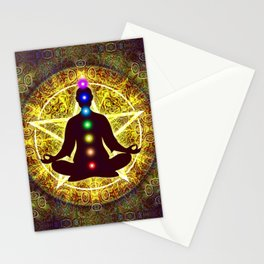 In Meditation With Chakras - Spiritual I Stationery Cards